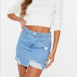 Missguided Ripped A Line Denim Mini Skirt